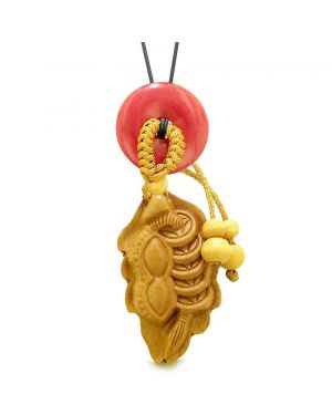Lucky Bean Fortune Coins Car Charm or Home Decor Red Quartz Donut Protection Powers Magic Amulet