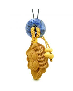 Lucky Bean Fortune Coins Car Charm or Home Decor Sodalite Donut Protection Powers Magic Amulet