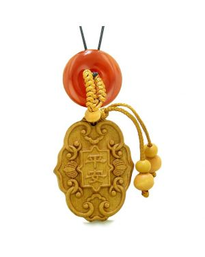 Feng Shui Lucky Symbols Car Charm or Home Decor Carnelian Donut Protection Powers Magic Amulet