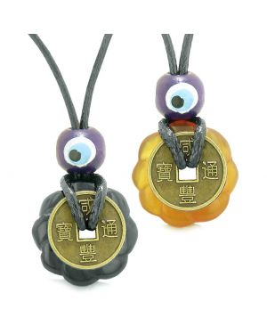 Small Tiny Lucky Coin Lotus Flower Donut Amulets Black Agate Carnelian Love Couples Necklaces