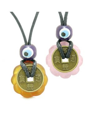 Small Tiny Lucky Coin Lotus Flower Donut Amulets Carnelian Rose Quartz Love Couples Necklaces