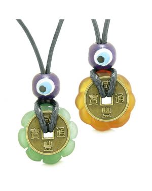 Small Tiny Lucky Coin Lotus Flower Donut Amulets Carnelian Green Quartz Love Couples Necklaces