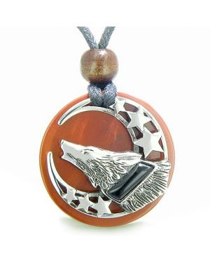 Amulet Black Onyx Howling Wolf Moon Stars Red Jasper Medallion Spiritual Nature Pendant Necklace