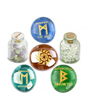 Ancient Runes Self Esteem Ehwaz Berkana Mannaz Amulets Glass Stones Fluorite Howlite Bottles Set