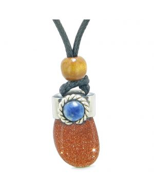 Handcrafted Free Form Tumbled Goldstone and Sodalite Cabochon Amulet Pendant Adjustable Necklace