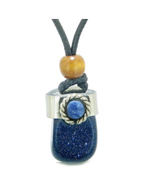 Handcrafted Free Form Tumbled Blue Goldstone and Sodalite Cabochon Amulet Pendant Adjustable Necklace