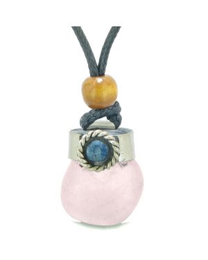 Handcrafted Free Form Tumbled Rose Quartz and Sodalite Cabochon Amulet Pendant Adjustable Necklace
