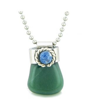 Handcrafted Free Form Tumbled Green Quartz and Sodalite Cabochon Amulet 18 Inch Pendant Necklace