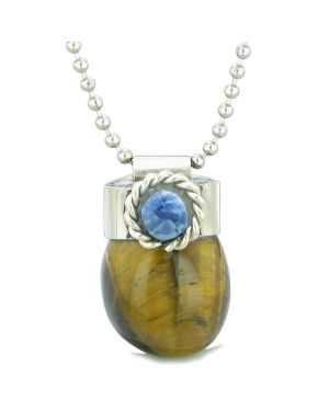 Handcrafted Free Form Tumbled Tiger Eye and Sodalite Cabochon Amulet 18 Inch Pendant Necklace