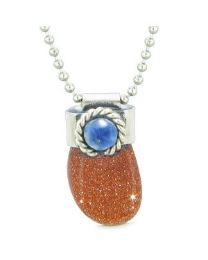 Handcrafted Free Form Tumbled Goldstone and Sodalite Cabochon Amulet 22 Inch Pendant Necklace