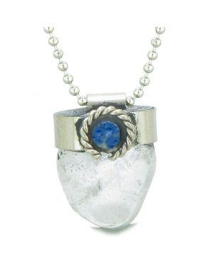 Handcrafted Free Form Tumbled Crystal Quartz and Sodalite Cabochon Amulet 22 Inch Pendant Necklace
