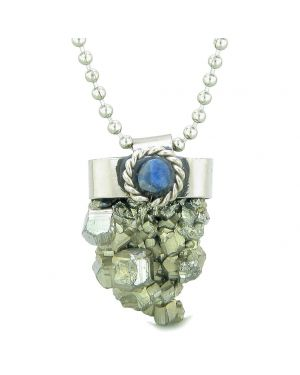 Handcrafted Free Form Rough Pyrite Iron and Sodalite Cabochon Amulet 22 Inch Pendant Necklace
