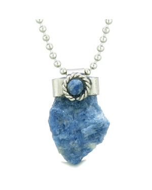 Handcrafted Free Form Rough Sodalite and Sodalite Cabochon Amulet 22 Inch Pendant Necklace
