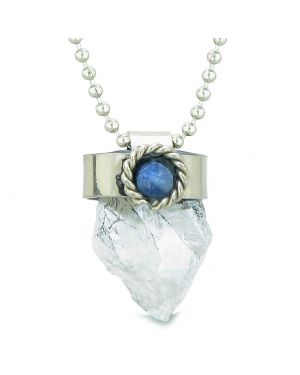 Handcrafted Free Form Rough Crystal Quartz and Sodalite Cabochon Amulet 18 Inch Pendant Necklace