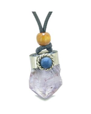 Handcrafted Free Form Rough Light Purple Quartz and Sodalite Cabochon Amulet Pendant Adjustable Necklace