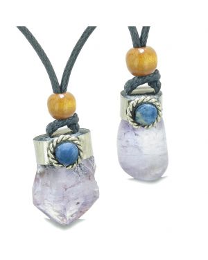 Handcrafted Free Form Tumbled and Rough Purple Quartz Sodalite Cabochon Love Couples Amulet Set Necklaces