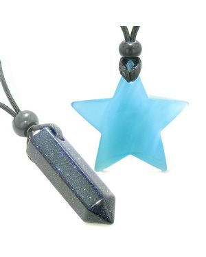 Amulets Lucky Crystal Point Magic Star Love Couples Blue Goldstone Blue Cats Eye Charms Necklaces