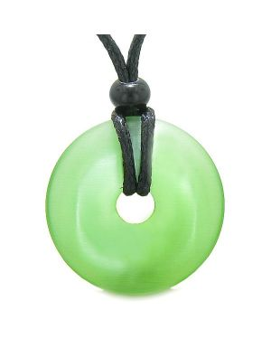 Amulet Magic Large Coin Shaped Donut Positive Powers Green Cats Eye Crystal Lucky Charm Necklace
