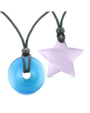 Large Coin Donut Super Star Amulet Love Couple or Best Friends Sky Blue Purple Cats Eye Necklaces