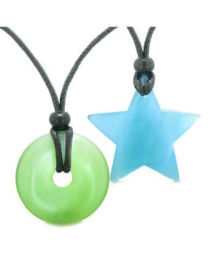 Large Coin Donut Super Star Amulet Love Couple or Best Friends Green Sky Blue Cats Eye Necklaces