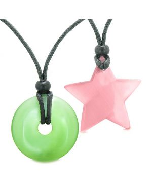 Large Coin Donut Super Star Amulet Love Couple or Best Friends Green Pink Cats Eye Necklaces
