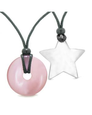 Large Coin Donut Super Star Amulet Love Couple or Best Friends Pink and White Cats Eye Necklaces