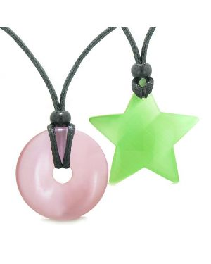 Large Coin Donut Super Star Amulet Love Couple or Best Friends Pink Green Cats Eye Necklaces