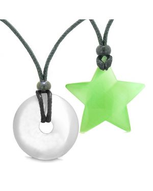 Large Coin Donut Super Star Amulet Love Couple or Best Friends White Green Cats Eye Necklaces