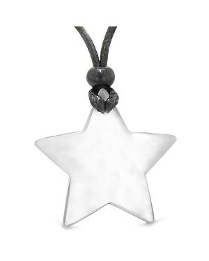 Amulet Magic Super Star Positive Powers White Cat's Eye Crystal Lucky Charm Pendant Necklace