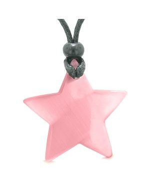 Amulet Magic Super Star Positive Powers Pink Cat's Eye Crystal Lucky Charm Pendant Necklace