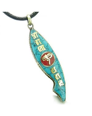 Amulet Ancient Tibetan All Seeing Buddha Eye Mantra Om Mani Padme Hum Turquoise Fish Necklace