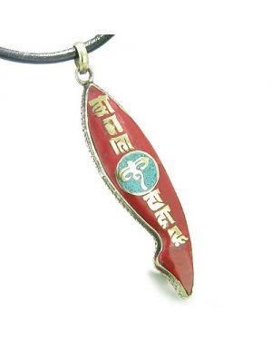 Amulet Ancient Tibetan All Seeing Buddha Eye Mantra Om Mani Padme Hum Turquoise Fish Shape Necklace