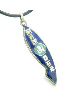 Amulet Ancient Tibetan Magic Mantra Om Mani Padme Hum Prayer Turquoise Fish Shape Pendant Necklace