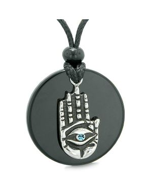 All Seeing Feeling Buddha Eye Hamsa Magic Agate Sky Blue Crystal Necklace