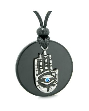 All Seeing Feeling Buddha Eye Hamsa Magic Agate Blue Crystal Pendant Necklace