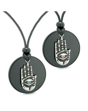 All Seeing Feeling Buddha Eye Hamsa Love Couple Best Friends Agate Pink Blue Medallion Necklaces