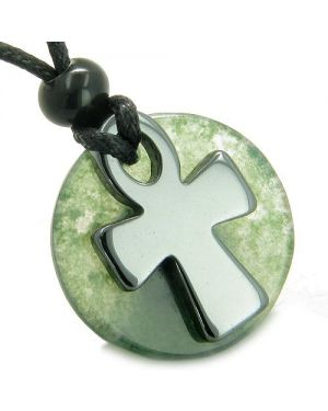 Ankh Egyptian Power of Life Medallion Amulet Good Luck Protection Moss Agate Hematite Necklace