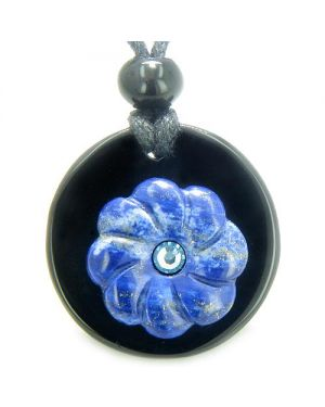 Double Lucky Flower Donut Medallion Blue Swarovski Eye Crystal Onyx Lapis Lazuli Pendant Necklace