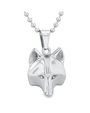 "Amulet Wolf Courage and Self Confidence Powers Wise Head Pendant on 18"" Chain Necklace"