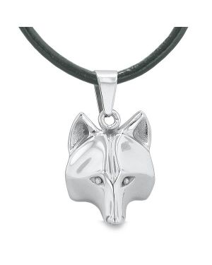 "Amulet Wolf Courage and Self Confidence Powers Wise Head Pendant on 18"" Leather Cord Necklace"