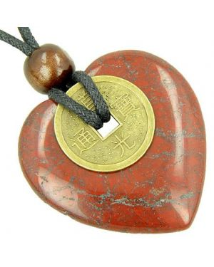 Heart Protection Amulet Lucky Coin in Red Jasper Stone Necklace