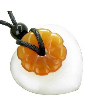 Kids Double Lucky Protection White Jade Carnelian Heart Necklace