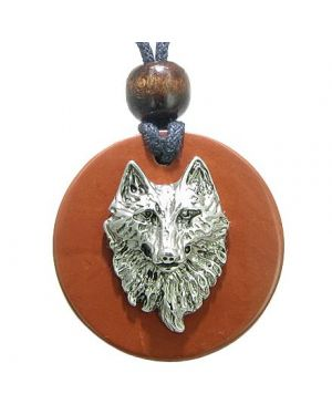 Wise Wolf Head Red Jasper Believe Powers Magic Circle Amulet Pendant Necklace