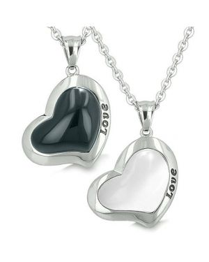 Lucky Hearts Love Eternity Love Couple Yin Yang Charms Amulet Onyx White Cats Eye Pendant Necklaces