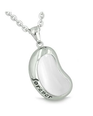 Lucky Bean Charm Forever Inspirational Amulet Cats Eye Eternity Positive Energy 22 Inch Necklace