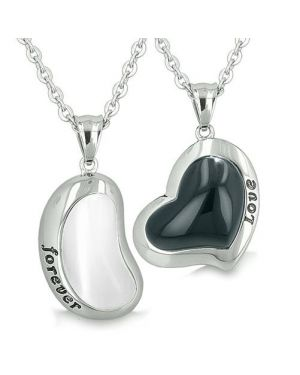 Lucky Bean Heart Eternity Love Forever Love Couple Charms Amulets White Cats Eye Onyx Necklaces