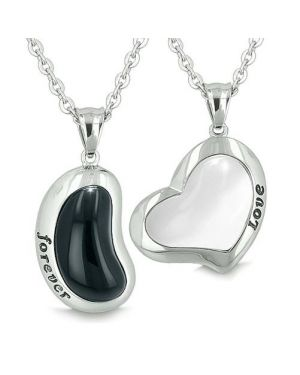 Lucky Bean Heart Eternity Love Forever Love Couple Charms Amulets Onyx White Cats Eye Necklaces