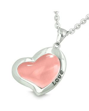 Lucky Heart Eternity Charm Love Inspiration Amulet Pink Cats Eye Magic Good Luck Pendant Necklace