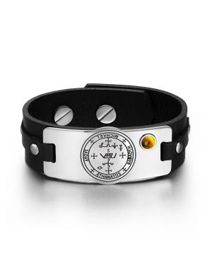 Archangel Michael Sigil Magic Powers Amulet Tiger Eye Gemstone Adjustable Black Leather Bracelet