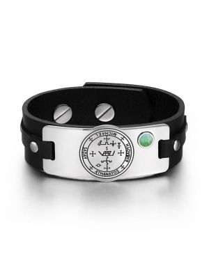 Archangel Michael Sigil Magic Powers Amulet Green Quartz Gemstone Adjustable Black Leather Bracelet